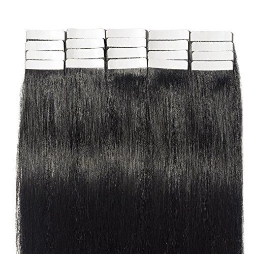 Tape extensions echthaar 50cm Remy Echthaar Haarverlängerung 20 Tressen 50g #1 Tiefschwarz