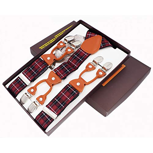 Dydongwl bretelle/giarrettiere/bretelle moda uomo 6 clip bretelle in pelle pantaloni cinturino cinturini regolabili con cinghie elastiche regolabili