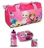 Frozen Disney Sporttasche Die Eiskönigin Kinder Reisetasche 3'er Set Sporttasche+Lunchbox+Trinkflasche