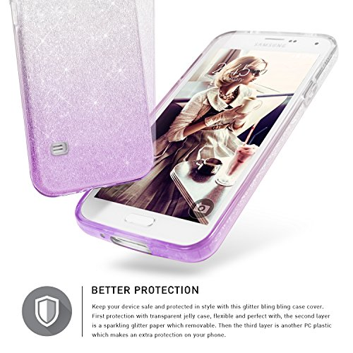 Bling Bling Samsung Galaxy S5 / S5 NEO Hülle, TheBlingZ.® Bling Bling Strass Glitzer TPU Hybrid Schutzhülle für Samsung Galaxy S5 / S5 NEO - Pink Shading Purple Shading