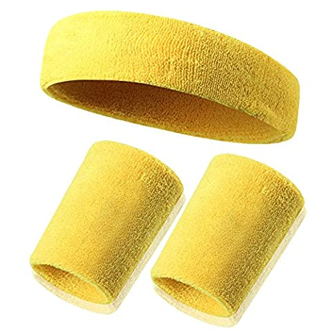 Wristband Bracelets Coton Sweatband Poignet - Datechip Sweat Wicking Terry Tissu Wristband pour les sports (Paire)