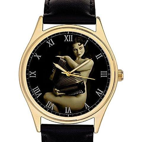 Impresionante Vintage Erotic Nude de acordeón jugador reloj de pulsera, gold-washed latón caso