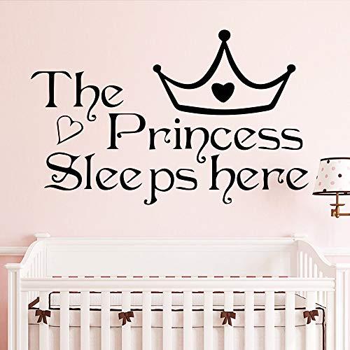 Schöne Zitate Die Prinzessin schläft hier Krone Aufkleber für Kinder Baby Raumdekoration Mädchen Wandaufkleber Wand Vinyl Dekor Kunst schwarz XXL 68 cm x 43 cm -
