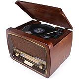 HOVAMP Plattenspieler MT-02 Retro Stereo Kompaktanlage mit FM / AM Radio, USB / CD Input, Bluetooth, Beleuchtetes LCD Display, MP3 Encoding Aufnahmefunktion, Fernbedienung, Aus 100% Natürlichem Holz