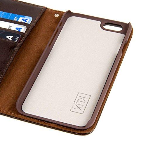 """EMPIRE KLIX Genuine Cuir Wallet Case Étui Coque pour Apple iPhone 6 4.7"""" - Textured Brun Genuine Cuir (Films de protection écran Inclus)"""