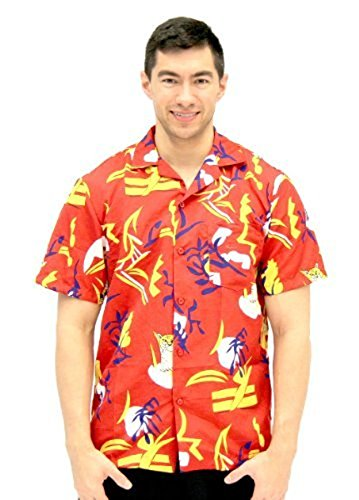 Kostüm Scarface - Costume Agent Scarface Tony Montana Hawaiian Erwachsene Kostüm Button Up Shirt (Large/X-Large)