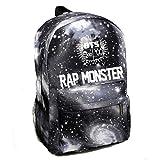 Partiss Unisex Kpop BTS Rucksack Fans Verlaufsfarbe College Schultasche Reisetasche Notebooktasche Fashion BTS Bedruckt Leinentasche, O Rap monster