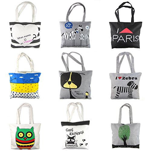 RayLineDo-7-PCS-Random-Color-Reusable-High-Quality-Fashion-Canvas-Beach-Tote-Bag-Mummy-handbag-Grocery-Shopping-Bag-With-Classic-Zebra-Stripes-And-Big-Heart