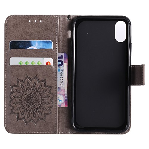 Protective Case Cover for iPhone X,iPhone X Coque PU Leather,iPhone X Neo Case,Hpory élégant Retro PU Cuir Cover Case Book Style Folio Flip Up Stand Fonction Support PU Leather Walllet Case with Credi 12#