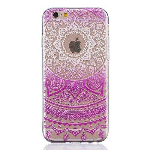 Coque iPhone 5 5s Housse étui-Case Transparent Liquid Crystal Mandala en TPU Silicone Clair,Protection Ultra Mince Premium,Coque Prime pour iPhone 5 5s-Vert-2 Fuchsia-2