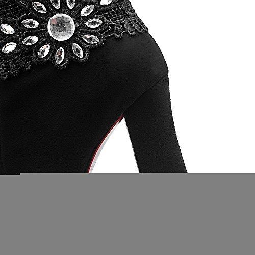 VogueZone009 Femme Haut Bas Zip Dépolissement Carré Rond Bottes avec Dentelle Noir