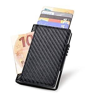 Portafoglio carte di credito metallo, URAQT Portafoglio di protezione per porta carte RFID, ladro di identificazione che… 10 spesavip