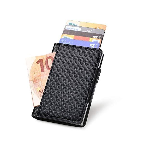 Portafoglio carte di credito metallo, URAQT Portafoglio di protezione per porta carte RFID, ladro di identificazione che… 1 spesavip