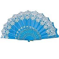 Bescita 1 PCS Chinese/Spanish Folding Hand Fan, Dance Wedding Party Lace Silk Folding Hand Held Flower Fan, Wedding Favors Guests Gifts (Sky Blue)