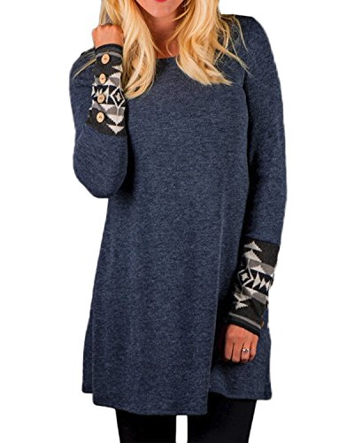 ZANZEA Femme Lapin en Peluche Chemise à Manches Longues Mini Robe Longue Pulls Automne Tops Hauts Marine