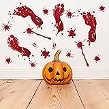HEsdzML Halloween Blutige Fußabdrücke Fenster Wand Tür Aufkleber Aufkleber Party DIY Dekoration