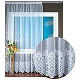 Gardine Jacquard Universalband Spitzenoptik Vorhang Blumenmuster weiß, Auswahl: 300 x 245 cm, Design: Cynthia