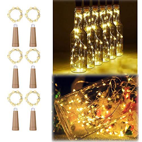 6PCS Korken mit LED Lichterkette Warmweiß, TINYOUTH 2M/6.5FT 20LED Flaschenlicht Korken, Immer beleuchten, Weinflaschen Korkenlicht Flaschenlicht AAA Batterie für DIY Party Hochzeit Weihnachten