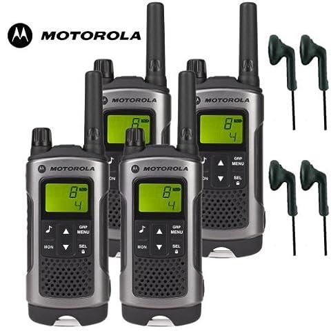 10Km Motorola: TLKR-T80 2 Talkie-Walkie Radio Pack de 4 écouteurs CM - 30PT PTT casques