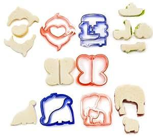 Andrew James – 5-Teiliges Sandwich-Ausstecher Set Für Kinder – Auch Ideal Als Plätzchenausstecher Und Marzipanausstecher – Beinhaltet Dinosaurier, Fahrzeuge, Elefanten, Delfine Und Schmetterlinge