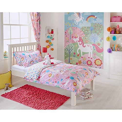 Riva Home Kinder Einhorn Bettwäsche (Singel) (Pink)