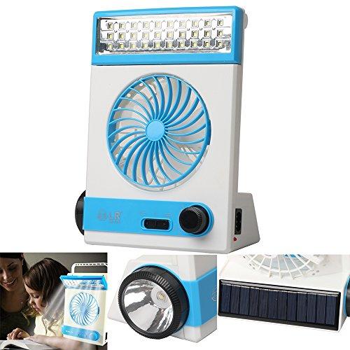Multifuncional Solar Ventilador de Refrigeración 3 en 1 Linterna Portátil con Protección...