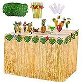 VSTON Falda de Mesa Hawaiana Fiesta Decoraciones de Luau Tropical con Hojas de Palmera Flores...