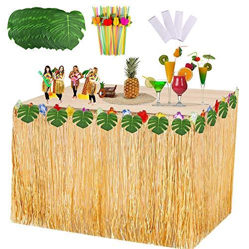 VSTON Falda de Mesa Hawaiana Fiesta Decoraciones de Luau Tropical con Hojas...