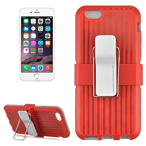 Wkae Case Cover plastik und tpu - kombination mit drehbaren clip und inhaber für das iphone 6 &65 ( Color : Red ) Red