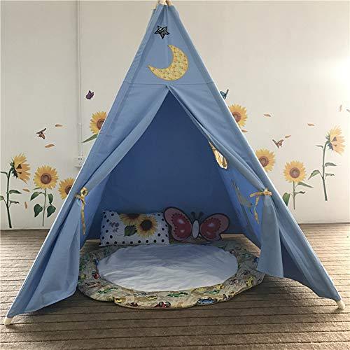 WHCCL Tipi für Kinder,Faltbare Kinder Spielen indisches Zelt,Tragbares Princess Girls Zelt für drinnen und draußen,Blue (Halloween-aktivitäten Für Kleinkinder Zu Hause)