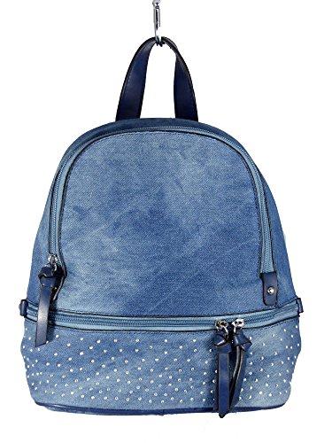 Jeans Style City Rucksack mit 2 Troddeln und kleinen Steinchen/Nieten - Glitzereffekt - Damen Mädchen Teenager Rucksack - Used Look Style Blau