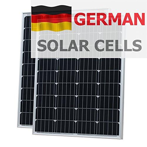 200W (100W + 100W) Photonic Universe Solar aus deutscher Solar Zellen mit 2x 5m Kabel für Wohnmobil, Wohnwagen, Boot oder jedem 12V/24V Akku System