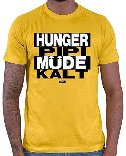 HARIZ  Herren T-Shirt Hunger PIPI Müde Kalt Sprüche Schwarz Weiß Inkl. Geschenk Karte Gold Gelb ()