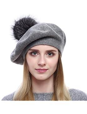 VEMOLLA Cappello Invernale Berretto di lana per le donne con pon pon in  vera pelliccia di 9825fefa49d7