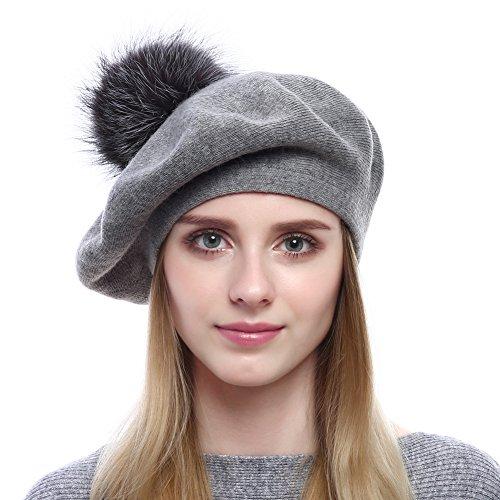 Vemolla cappello invernale berretto di lana per le donne con pon pon in vera pelliccia di volpe argentata