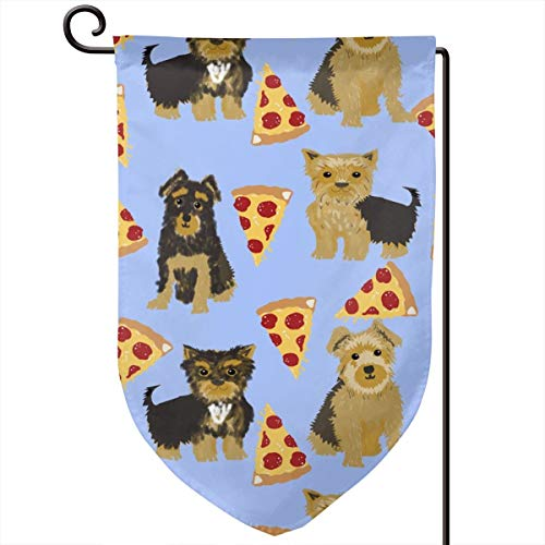 vintage cap Yorkie Pizza Funny Cute Dog Novelty Food Polyester Garden Flag House Banner 12.5 x 18 inch, Two Sided Welcome Yard Decoration Flag for Wedding Party Home Decor - Yorkie Food Dog