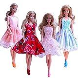 Schöne 4 Stück Mini Kleid Prinzessin Dress Clothes Zubehör Schuhe für Barbie Puppe (4 Stück Set) -