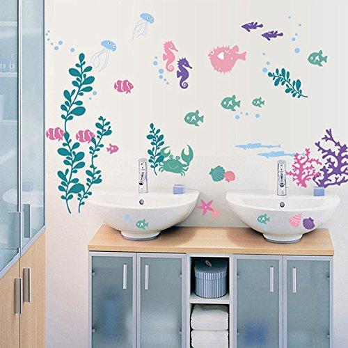 Winhappyhome Mondi Undersea Pesce Alghe Art Stickers Da Muro per Bagno Bagno Piscina Sfondo Rimovibili Decor