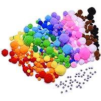 Outus Palla di Feltro Multicolore con Dimenamento Occhi Autoadesive per Fai Da Te, Artigianato e (Arcobaleno Lana)