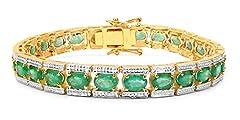 Idea Regalo - Jaipuri.Instyle by tricolore–Bracciale da Donna–Oro Giallo 14carati (585)-Vere pietre preziose: smeraldo–8.1mm–11.7CT
