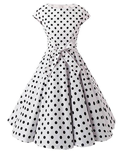 SaiDeng Femmes Rétro Années 50s Noir Polka Dots Rockabilly Robe Comme Image