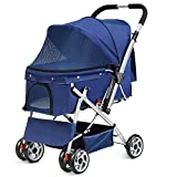 Amzdeal Pet Stroller with Rain Cover for Maximum Weight 15Kg + 600D PVC
