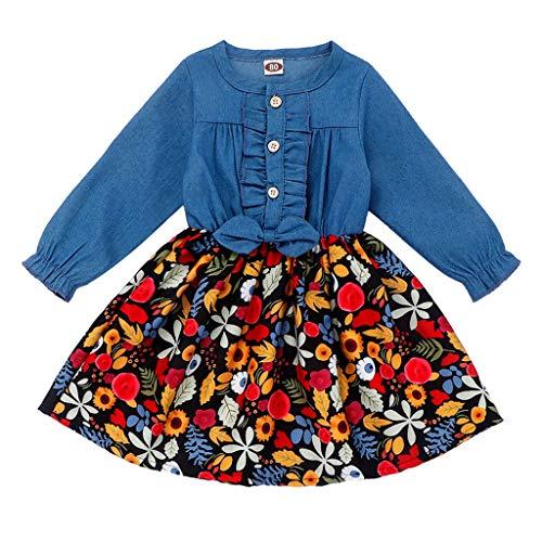 Yuiopmo Kinderbekleidung Jeanshemd Langarm Revers Jeansbluse Kleinkind Baby Kleidung Kind Mädchen Denim Gerafft Lange Ärmel T-Shirt Oberteile Prinzessin Kleide