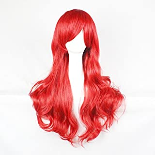 Womens Ladies Girls 70cm Red Color Long Curly Wigs High Quality Hair Carve Cosplay Costume Anime Party Bangs Full Sexy Wigs