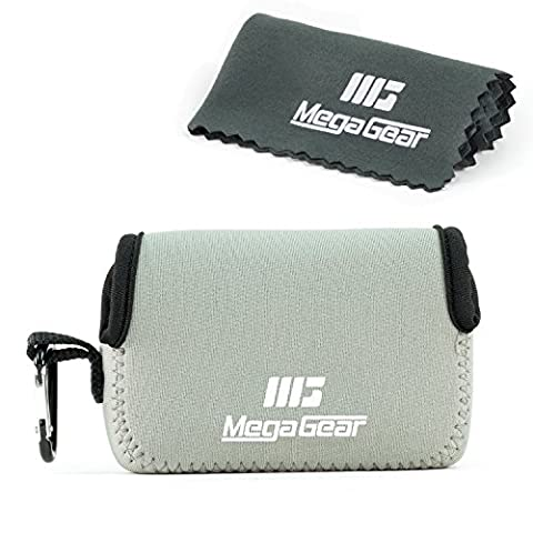 """MegaGear """"Matériau Léger"""" Neoprene Sac photo Housse Étui Sacoche pour Sony Cyber-shot DSC-RX100 V, DSC-RX100 IV, Olympus Tough TG-4, TG‑5 (Gris)"""