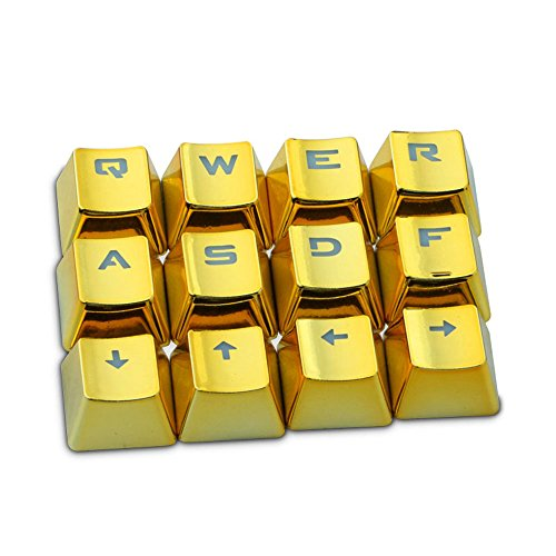 Rosepoem Teclado mecánico Teclado Teclado 12 piezas Juego Teclado Tapas para llaves Transmisión de luz Pbt Plating Tapa para llaves - ORO (Juegos Llaves Para)