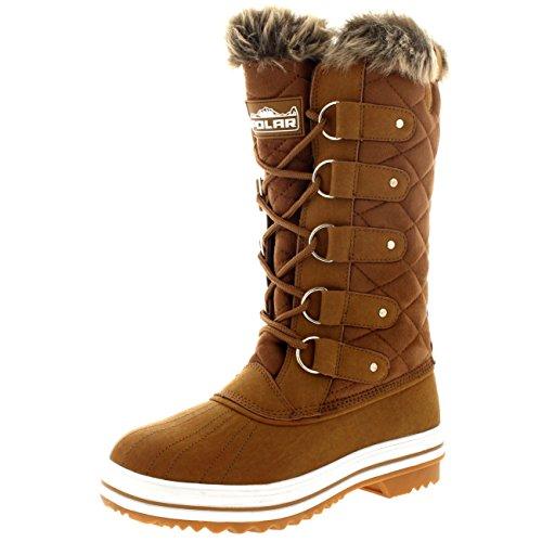 Damen Schnee Stiefel Nylon Tall Wasserdicht Gefüttert Regen Stiefel Tan Wildleder