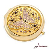 Gifts For Girls / 24k Gold Electroplate Butterfly Purse Mirror by Jinvun: Ultimate Luxury Round Vanity Mirror w/Diamonds/ Sturdy Travel Purse Compact Cosmetic Mirror/Folding Magnifying Beauty Mirror
