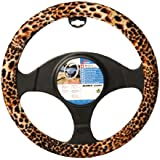 Sumex 2505067 Leopard Look Funda de Volante Universal Terciopelo Leopardo, 37 - 39 cm Diámetro