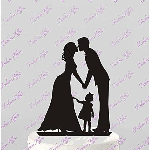 Generic - Topper decorativo per torta, motivo sposa e sposo mano nella mano, in acrilico